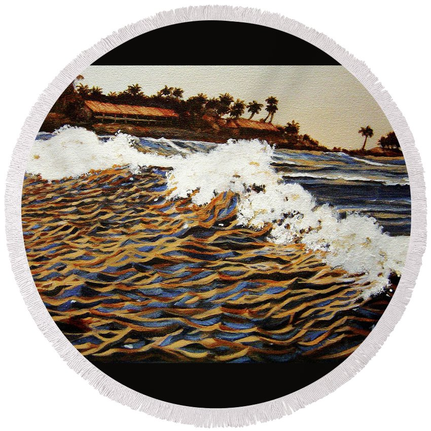 Wave Round Beach Towel featuring the painting The Wave by Usha Shantharam