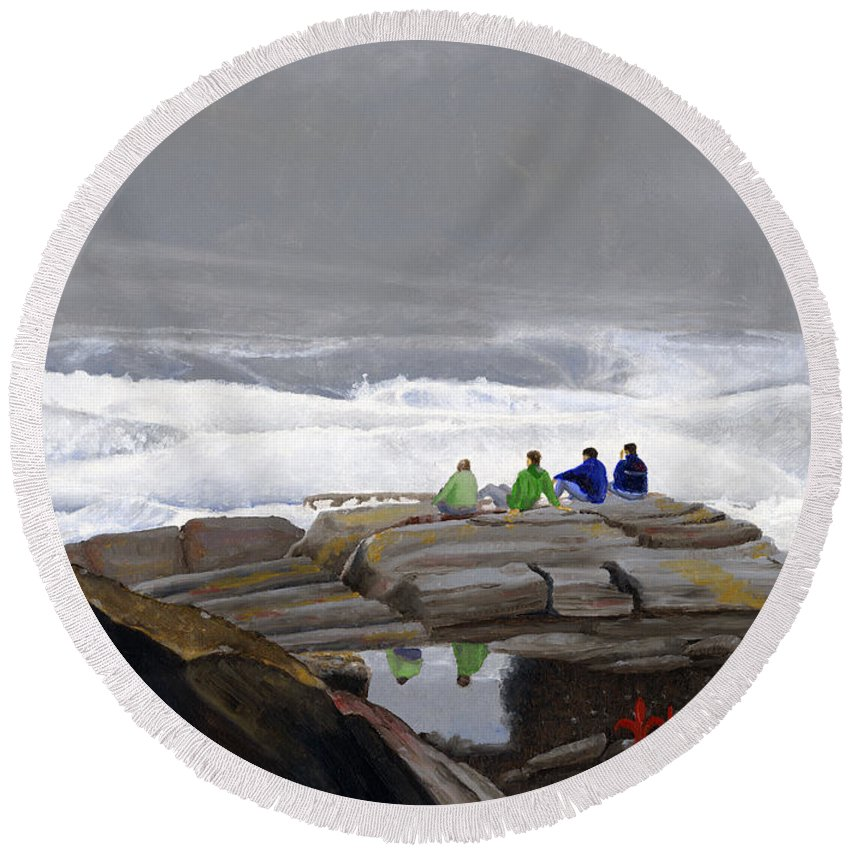 Waves Round Beach Towel featuring the painting The Wave Watchers by Dominic White
