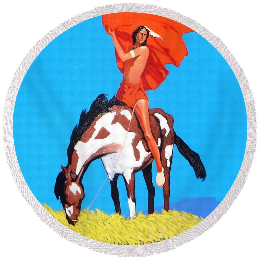 Indian Round Beach Towel featuring the painting The Way by Jim Bob Swafford