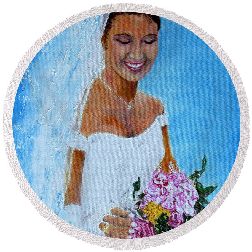 Wedding Round Beach Towel featuring the painting the wedding day of my daughter Daniela by Helmut Rottler
