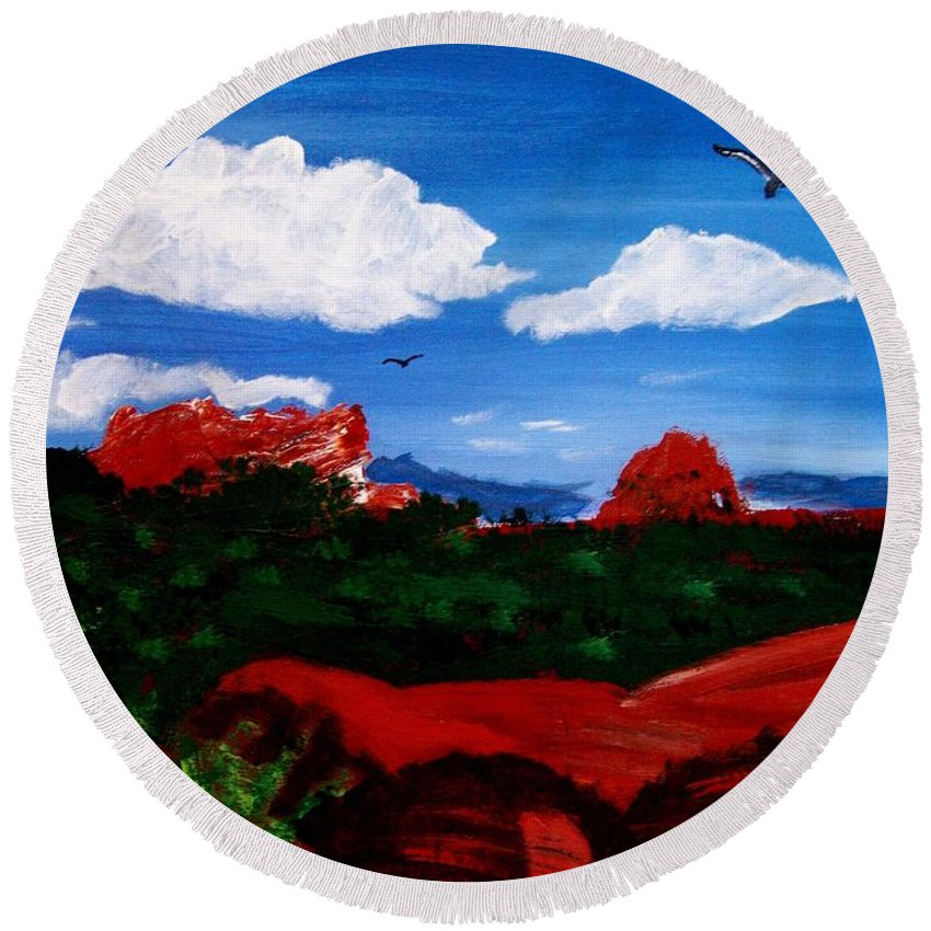Acrylic Round Beach Towel featuring the painting The West by Michael Grubb