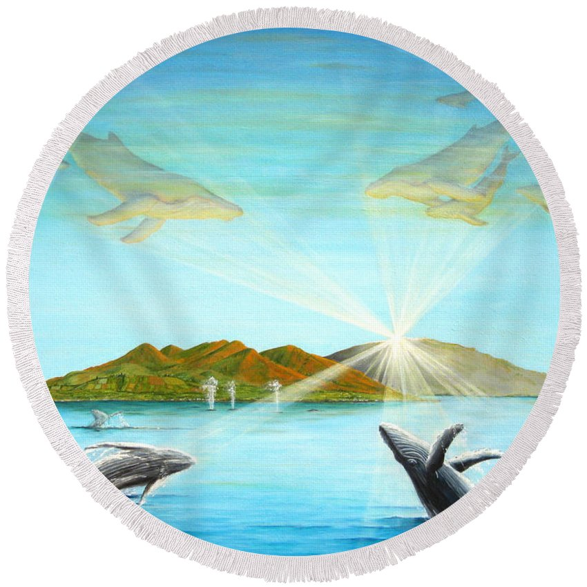 Whales Round Beach Towel featuring the painting The Whales Of Maui by Jerome Stumphauzer
