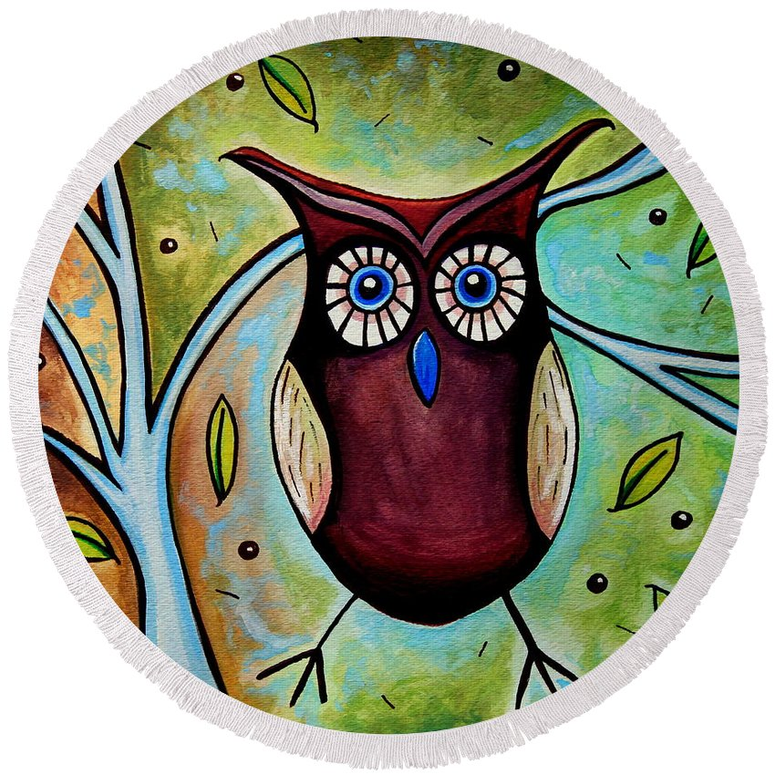 Owl Round Beach Towel featuring the painting The Whimsical Owl by Elizabeth Robinette Tyndall