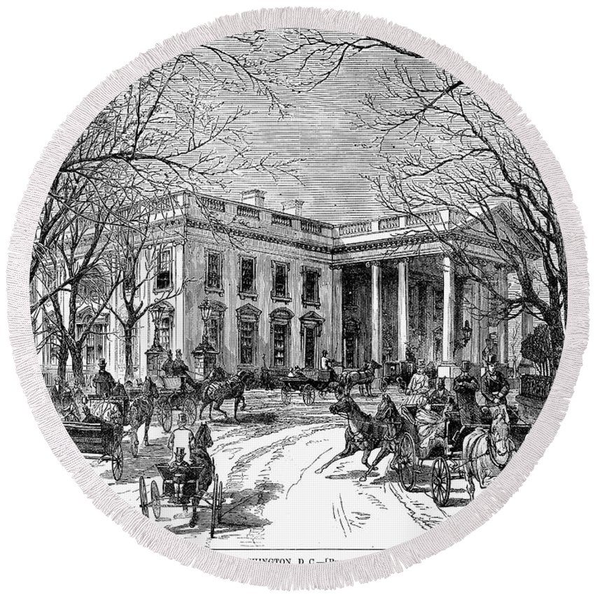 1877 Round Beach Towel featuring the photograph The White House, 1877 by Granger