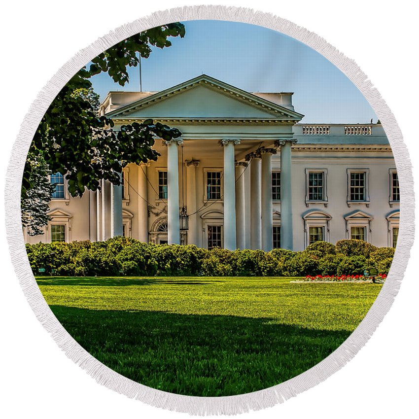 White Round Beach Towel featuring the photograph The White House by Nick Zelinsky