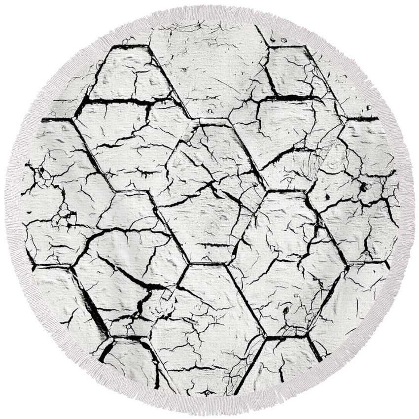 Roof Round Beach Towel featuring the photograph The White Painted Asphalt Shingle by Jozef Jankola