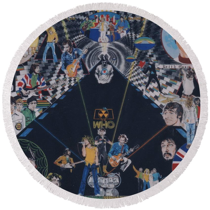 Pete Townshend;roger Daltrey;john Entwistle;keith Moon;quadrophenia;opera;story;four;music;guitars;lasers;mods;rockers;london;brighton;1964 Round Beach Towel featuring the drawing The Who - Quadrophenia by Sean Connolly