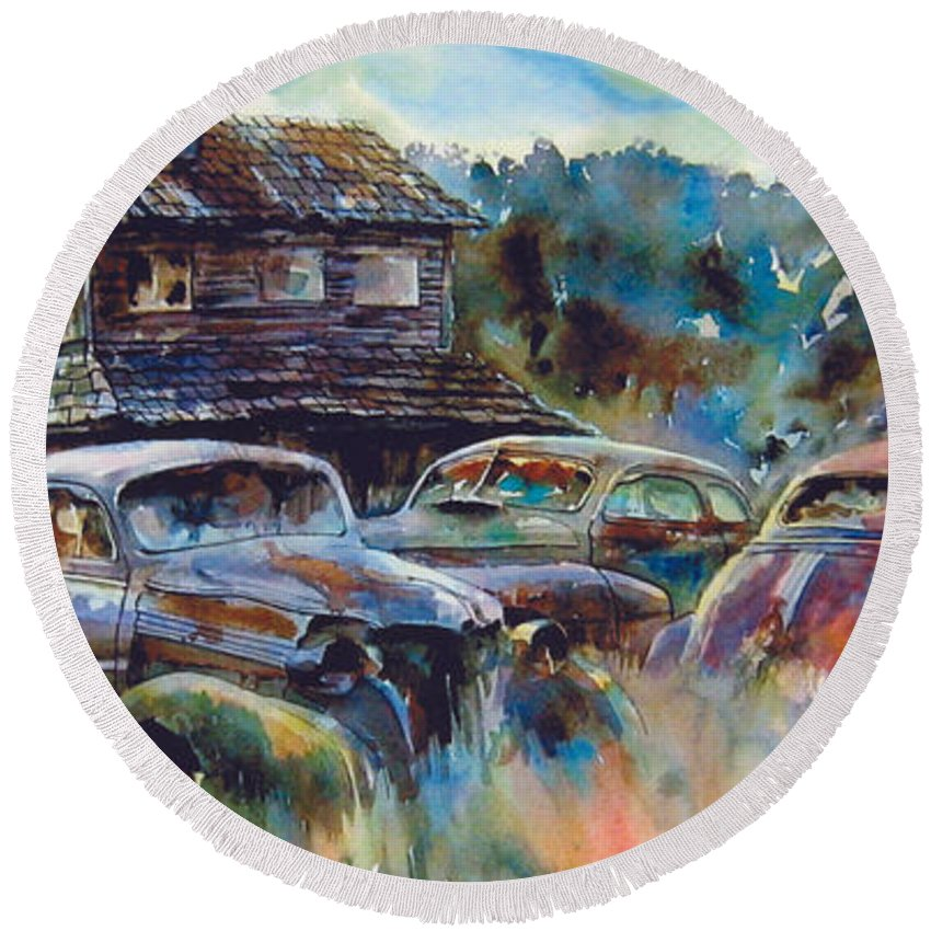 Old Rusty Dilapidated Cars House Round Beach Towel featuring the painting The Wide Spread by Ron Morrison