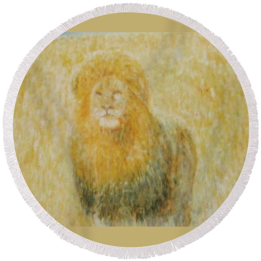 Impressionism Round Beach Towel featuring the painting The Wild Lion by Glenda Crigger