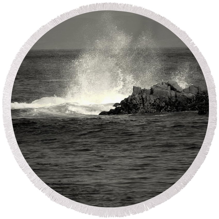 B&w Round Beach Towel featuring the photograph The Wild Pacific In Black And White Two by Joyce Dickens