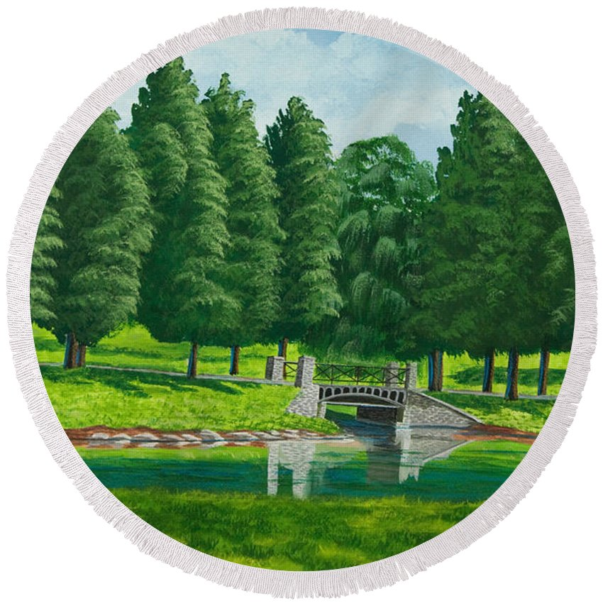 Colgate University Taylor Lake Round Beach Towel featuring the painting The Willow Path by Charlotte Blanchard