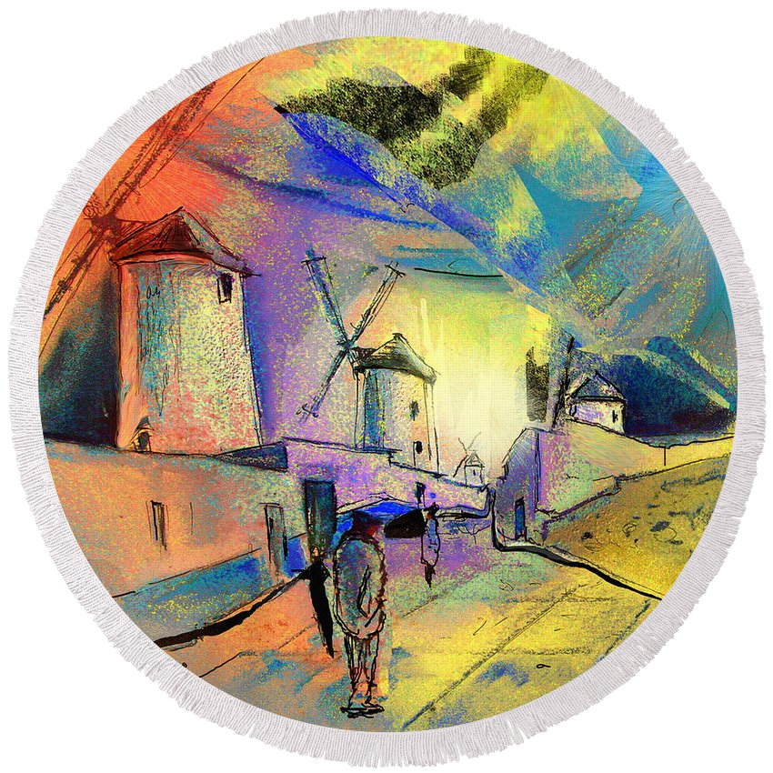 Spain Round Beach Towel featuring the painting The Windmills Del Quixote 02 by Miki De Goodaboom