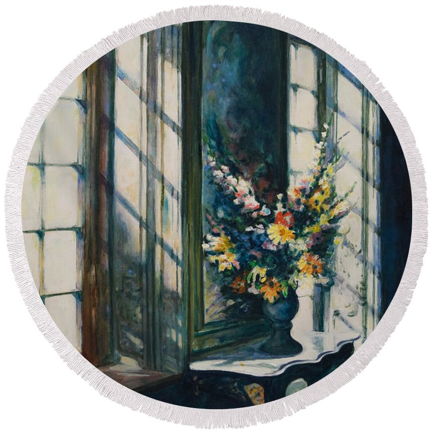 Window Round Beach Towel featuring the painting The Window by Rick Nederlof
