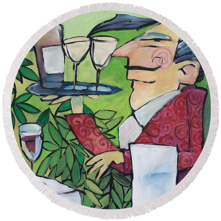Wine Round Beach Towel featuring the painting The Wine Steward by Tim Nyberg