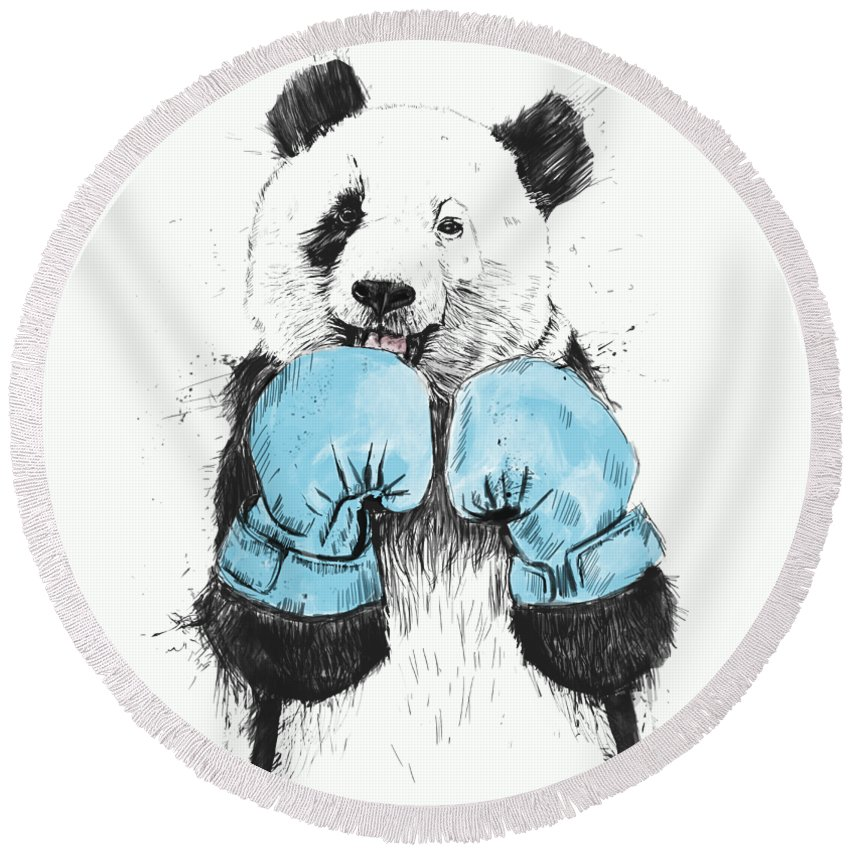 Panda Round Beach Towel featuring the digital art The Winner by Balazs Solti