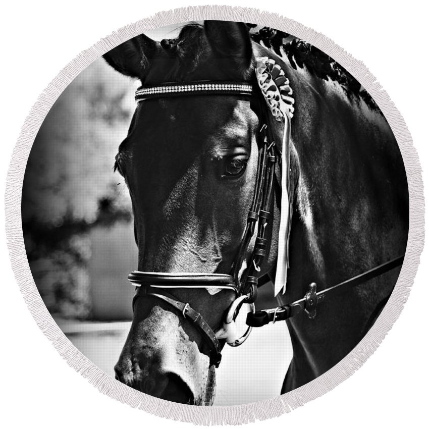 Horse Round Beach Towel featuring the photograph The Winner by Clare Bevan