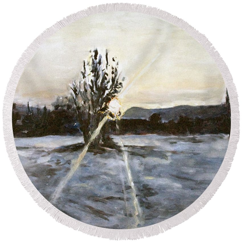 Landscape Round Beach Towel featuring the painting The Winter Sunset With A Bench by Pablo de Choros