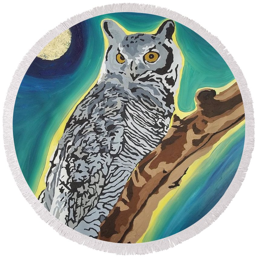 Owl Round Beach Towel featuring the painting The Wise One by Amy Pugh