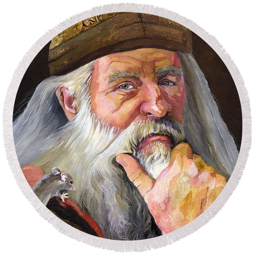Wizard Round Beach Towel featuring the painting When The Student Is Ready by J W Baker