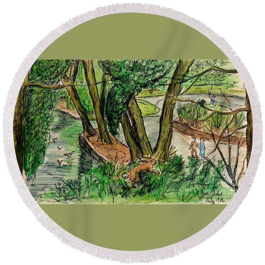 Trees Round Beach Towel featuring the painting The Wishing Tree by Joan-Violet Stretch