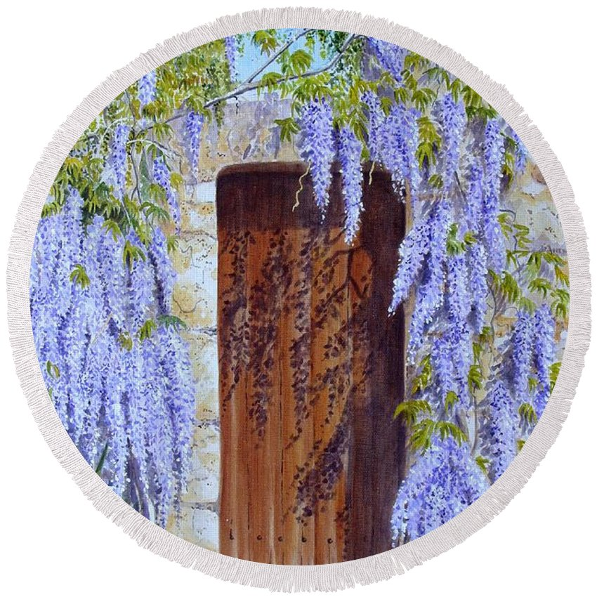 Wisteria Round Beach Towel featuring the painting The Wisteria Gate by Frances Evans