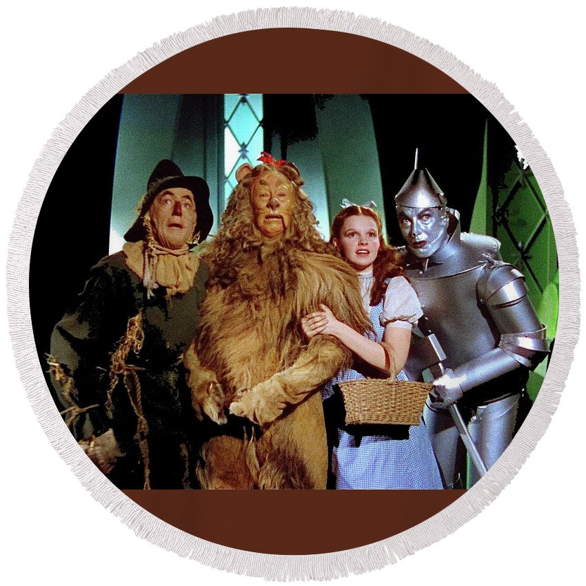 The Wizard Of Oz Quartet Eric Carpenter Publicity Kodachrome 1939 Round Beach Towel featuring the photograph The Wizard Of Oz Quartet Eric Carpenter Publicity Kodachrome 1939 by David Lee Guss
