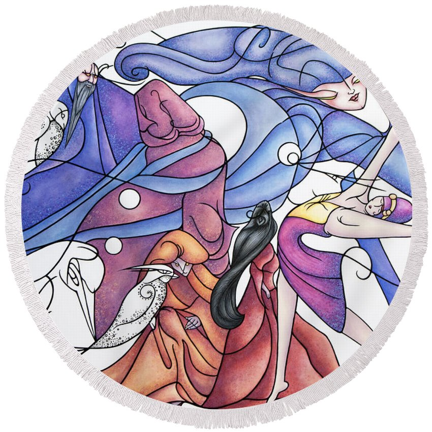 Wizard Round Beach Towel featuring the painting The Wizards Daughter by Judy Henninger