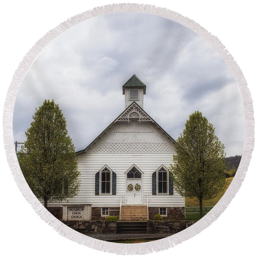 Paw Paw Round Beach Towel featuring the photograph The Woodrow Union Church In Paw Paw West Virginia by Mountain Dreams