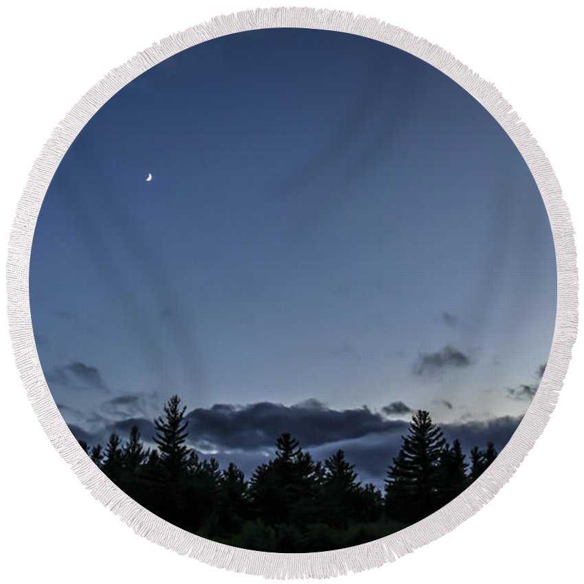 Moon Round Beach Towel featuring the photograph The Woods And The Moon 1 by Marina McLain