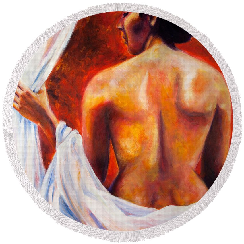 Nude Round Beach Towel featuring the painting The World At Bay by Jason Reinhardt