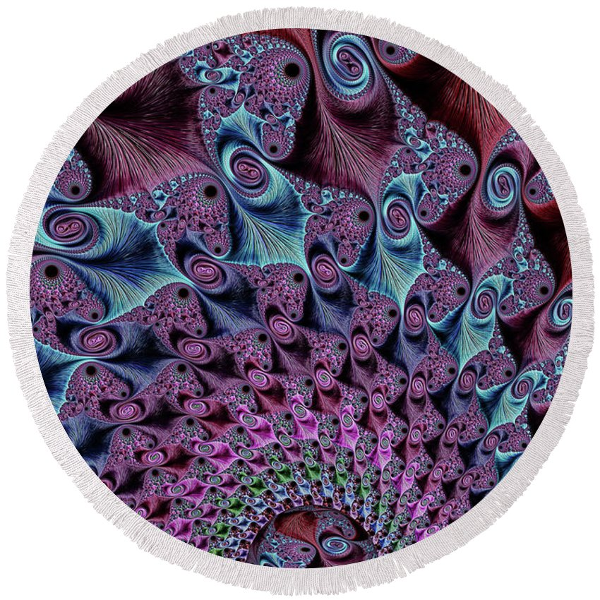Fractal Round Beach Towel featuring the digital art The World At Our Feet by Steve Purnell