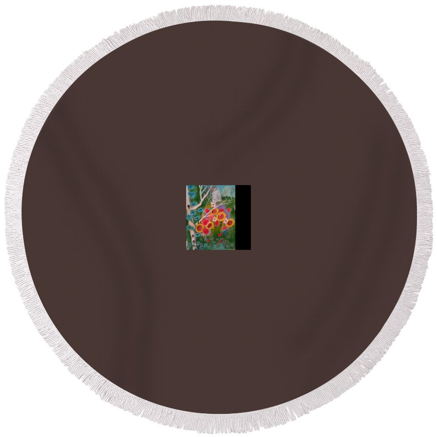 Round Beach Towel featuring the painting The World Of Flowers by Bethany Hannigan