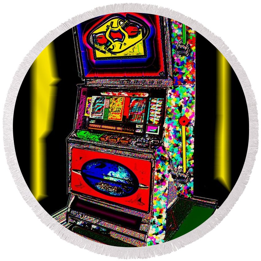 Greed Round Beach Towel featuring the digital art the World-Trade-Slot-Machine by Helmut Rottler