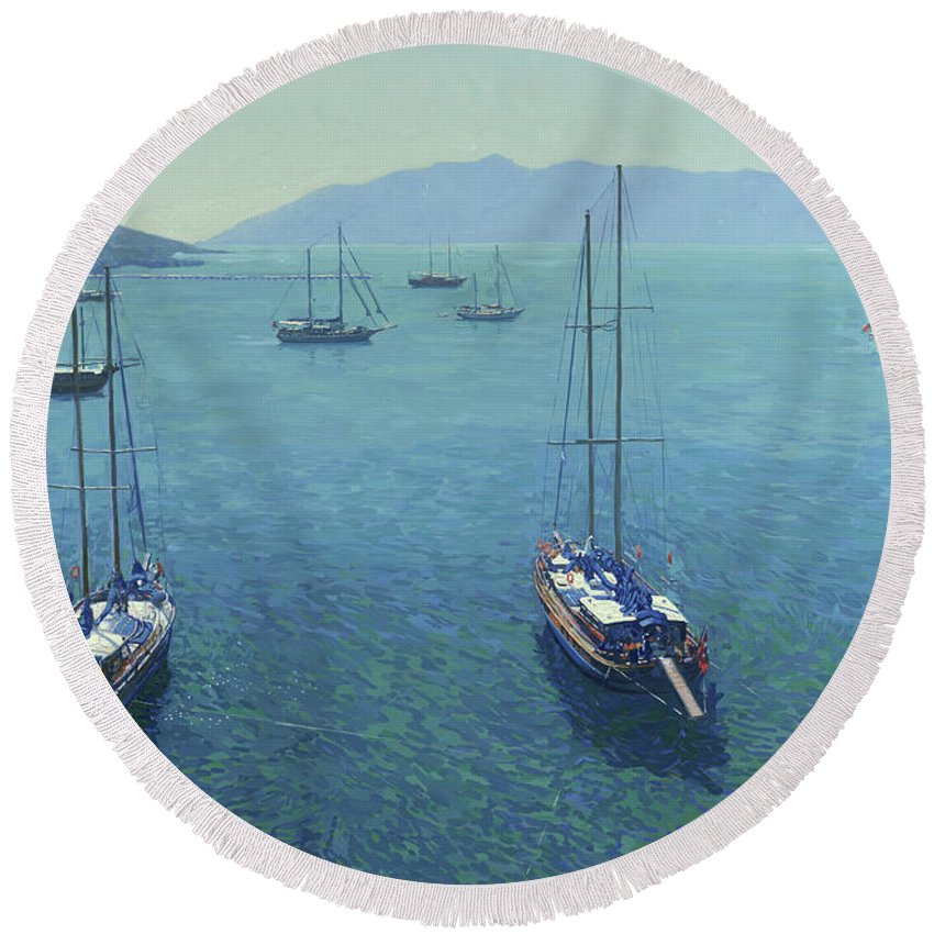 Yachts Round Beach Towel featuring the painting The Yachts by Simon Kozhin