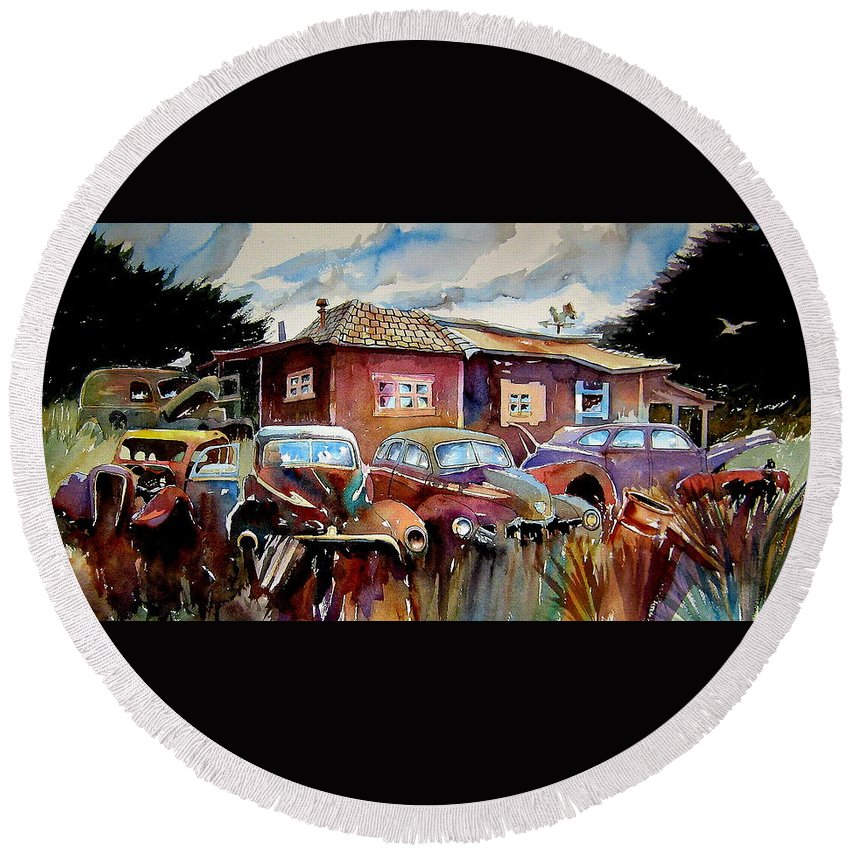 Cars Round Beach Towel featuring the painting The Yard Ornaments by Ron Morrison