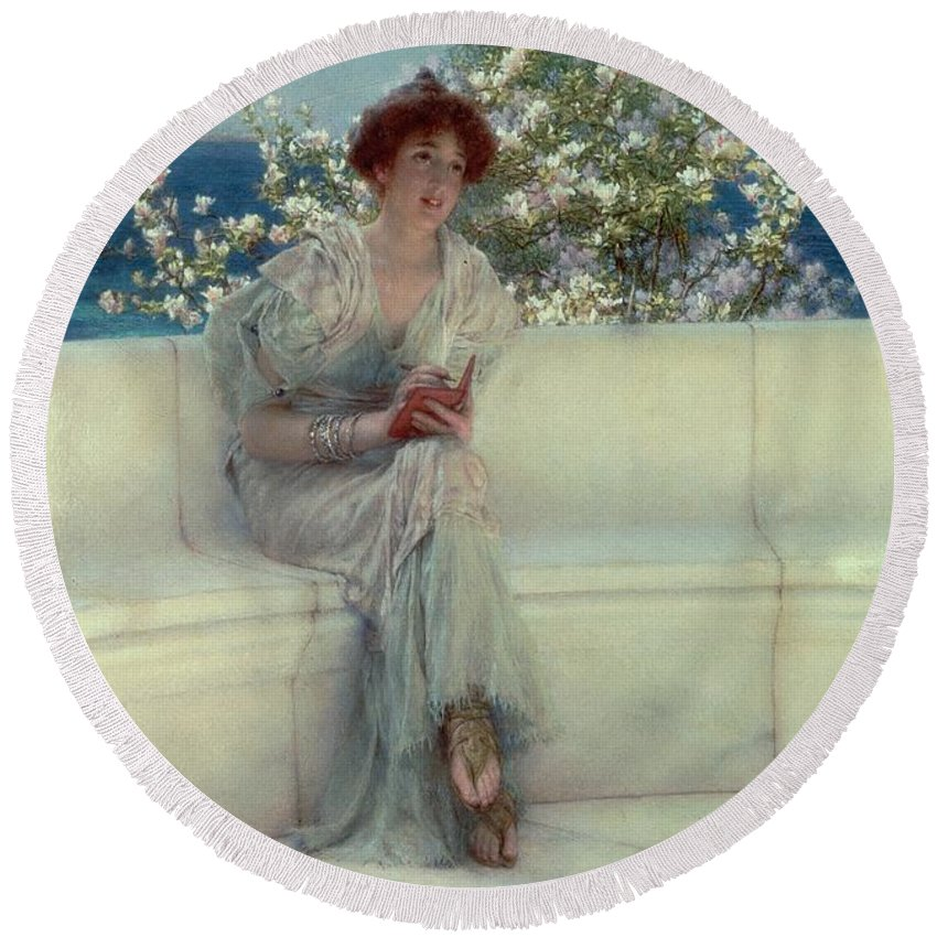 The Round Beach Towel featuring the painting The Year's At The Spring - All's Right With The World by Sir Lawrence Alma-Tadema