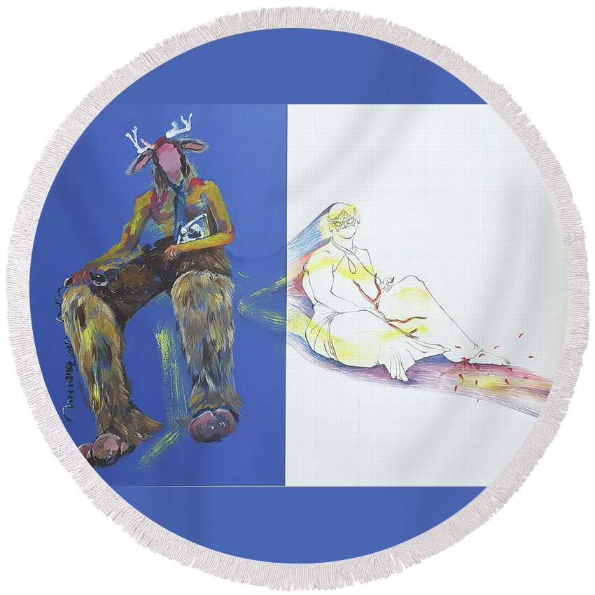 Prajooshrestha Prajoo Yellow King Watercolor Pen Paper Painting Blue Half Round Beach Towel featuring the mixed media The Yellow King by Prajoo Shrestha