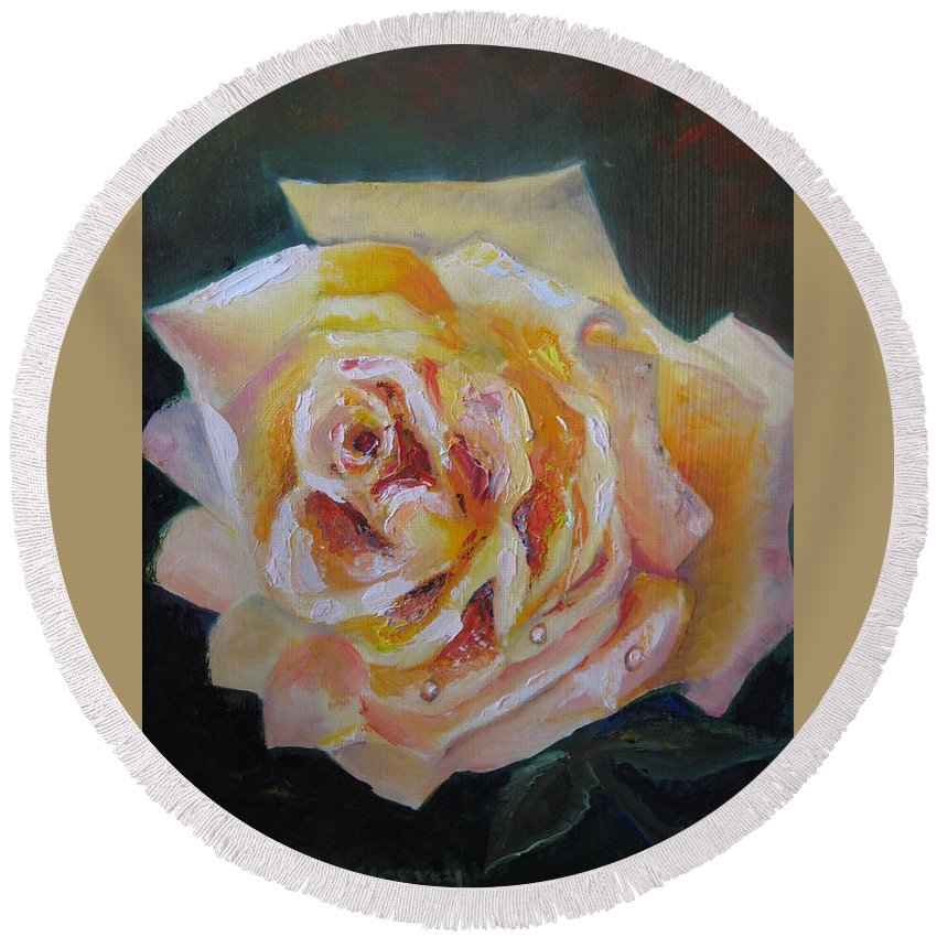Yellow Rose Round Beach Towel featuring the painting The Yellow Rose by Jan Harvey