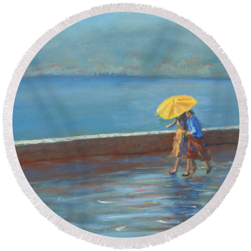 Rain Round Beach Towel featuring the painting The Yellow Umbrella by Jerry McElroy
