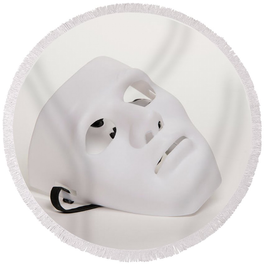 Theater Round Beach Towel featuring the photograph Theater Mask White On White by JG Thompson