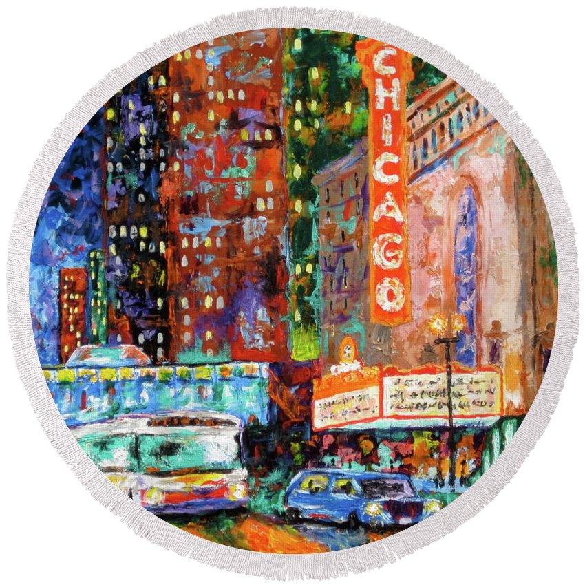 Chicago Theater Round Beach Towel featuring the painting Theater Night by J Loren Reedy