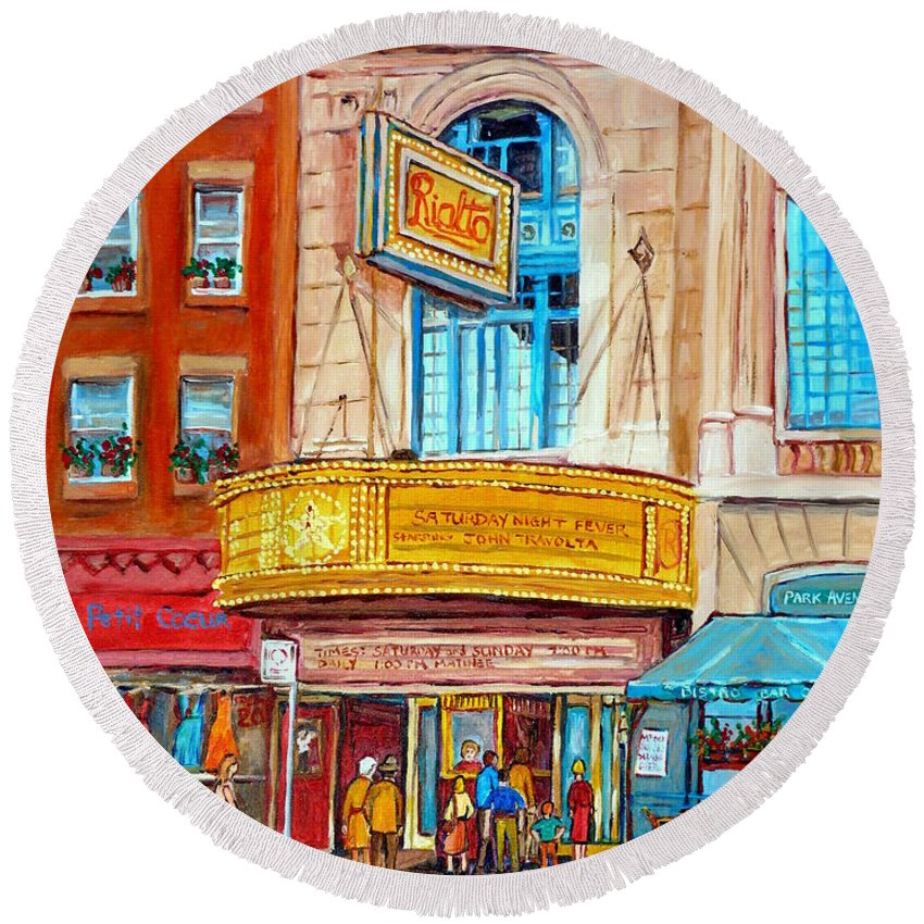 Montreal Round Beach Towel featuring the painting Theatre Rialto Ave. Du Parc Montreal by Carole Spandau