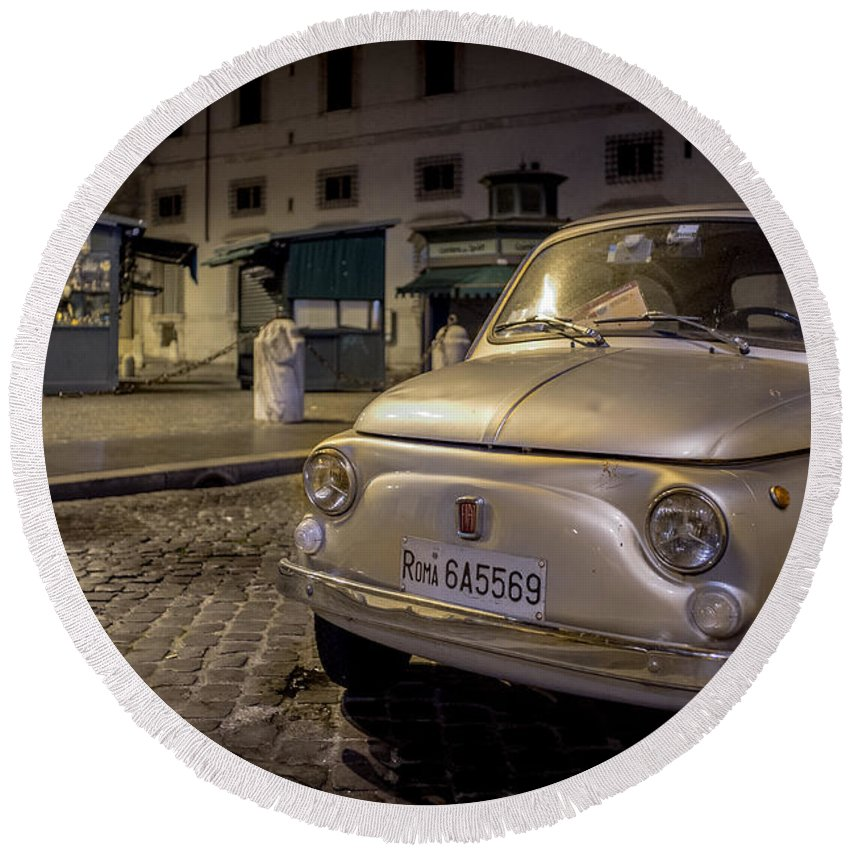 500 Round Beach Towel featuring the photograph The Fiat 500 by Valerio Poccobelli