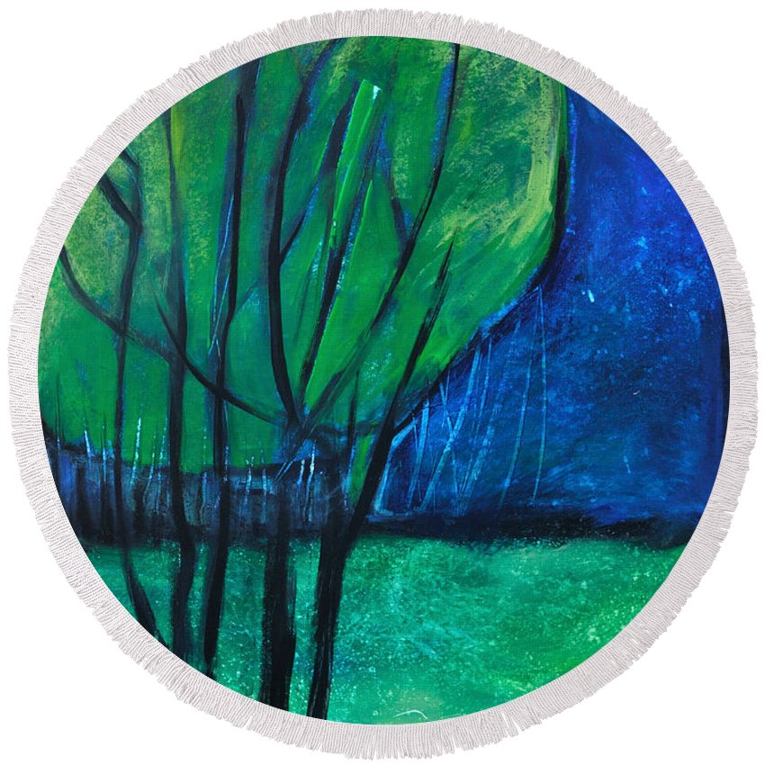 Trees Round Beach Towel featuring the painting Then Came Evening by Tim Nyberg