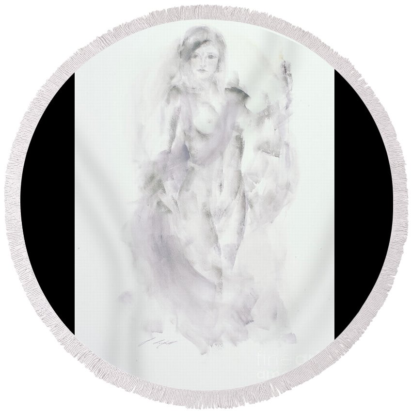 Nudes Round Beach Towel featuring the painting Then, She Lit A Candle by Janette Lockett