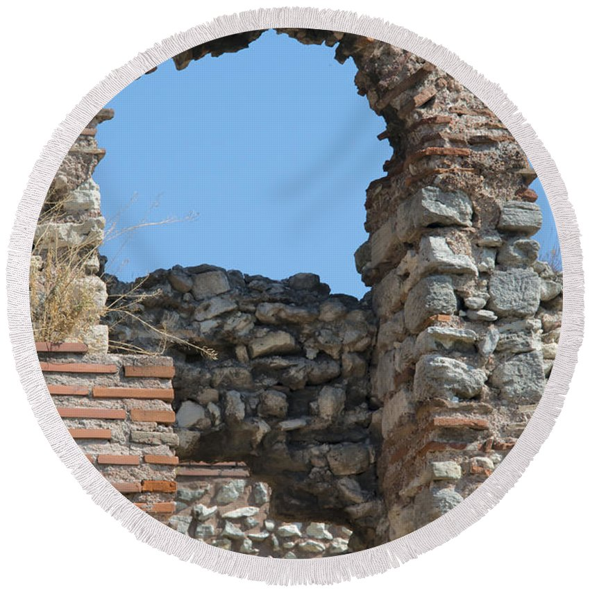 Theodosian Wall Istanbul Turkey Theodosian Walls Stone Stones Brick Structure Structures Architecture Ruin Ruins Landscape Landscapes Landmark Landmarks Cityscape Cityscapes Door Doors Arch Arches Archway Archways Round Beach Towel featuring the photograph Theodosian Walls - View 17 by Bob Phillips