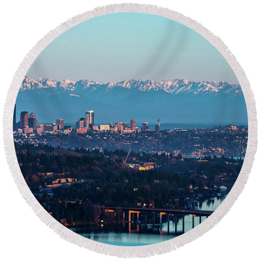 Olympics Round Beach Towel featuring the photograph The_olympics_over_seattle by Safe Haven Photography Northwest