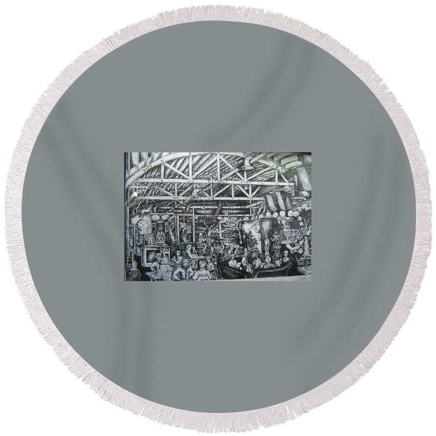 Whirled Pies Round Beach Towel featuring the painting Theos by Todd Artist