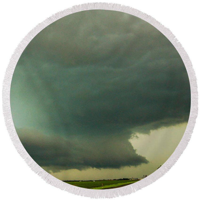 Nebraskasc Round Beach Towel featuring the photograph There Be A Nebraska Storm A Brewin 018 by NebraskaSC