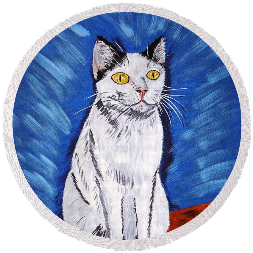 Cat Round Beach Towel featuring the painting There Is A Bird by Valerie Ornstein